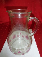 Antik üvegkancsó, festett, színes mintával, magassága 20 cm.