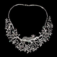 Rubin Smaragd Saphir marcasite 925 ezüst Állatkert nyaklánc 44.45 cm