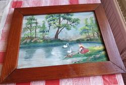 Festmény fa keretben eladó !Hattyúkkal játszó lány