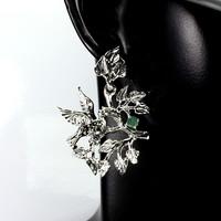 Kerek zöld smaragd 3,5 mm-es marcasite 925 ezüst madár fülbevaló