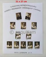 Aranycsapat tablófénykép Puskás, Kocsis, Bozsik, stb. labda foci futball relikvia