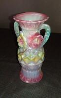 Díszes virágos porcelán váza  20cm.