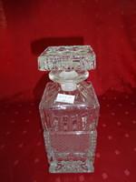 Kristály whiskys üveg dugóval, magassága 22 cm.
