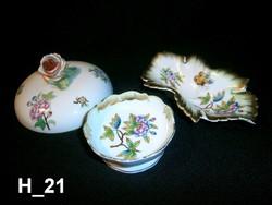 3 db Herendi Viktória mintás sérült porcelán: tálkák és bonbonier tető