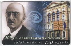 Magyar telefonkártya 0301  1998 100 éves a Kandó főiskola      50.000 Db-os