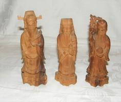 Kínai faragott fa szobor 3 db