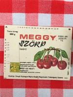 Retro üdítős szörpös üvegcímke - Meggy szörp - Zengő Gyöngye MGTSZ - Bogád