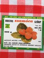 Retro üdítős szörpös üvegcímke - Rostos szamóca eper üditő - Zengő Gyöngye MGTSZ - Bogád MSZ