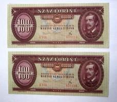 100 Forint 1975 Sorszámkövető 2 db