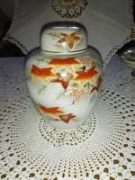 Kézzel festett,porcelán, japán teafű tartó fedéllel.