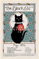 Ülő fekete macska nyakörvvel cica május 1896 Vintage magazin reklám plakát reprint