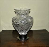 Antik csiszolt kristály váza 835-ös ezüst talpon 4 Kg. súlyú