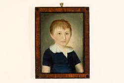 Antik 18.sz. Gyermek Portré Olaj Vászon 38x29cm Copf Keret   Kisfiú Fiú Gyerek Portréja