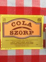 Retro üdítős szörpös üvegcímke - Cola ízű szörp üditő - Zengő Gyöngye MGTSZ - Bogád MSZ