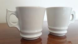 Antik vastagfalú porcelán csésze fehér bieder kávés bögre 2 db