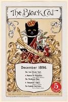 Fekete macska királyi bíbor palást korona jogar december 1896 Vintage magazin reklám plakát reprint