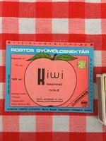 Retro üdítős szörpös üvegcímke - Kiwi ízesítésű ivólé üditő - Zengő Gyöngye MGTSZ - Bogád MSZ