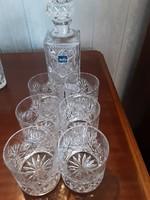 Ólom kristály whiskys készlet, poharak - butéliával -  Híres Mata Kristály Parádfürdő
