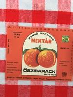 Retro üdítős szörpös üvegcímke - Őszibarack rostos üditő - Zengő Gyöngye MGTSZ - Bogád