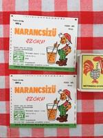 2 darab Retro üdítős szörpös üvegcímke - Narancs Szörp üditő - Zengő Gyöngye MGTSZ - Bogád MSZ