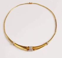 Női arany nyakék / nyaklánc brill kövekkel