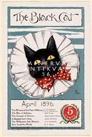 Fekete macska pöttyös csokornyakkendő fehér bohóc gallér 1896 Vintage magazin reklám plakát reprint