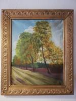 Olaj vászon festmény tájkép fák őszi erdő