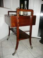Ritka Art Deco design bükkfa zsúrkocsi / bárszekrény krómozott kerekekkel az 1950-60-as évekből