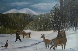 40x60 cm vászon, olajjal festettem, Címe : Téli Gondoskodás