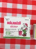 Retro üdítős szörpös üvegcímke - Málnaízű szörp - Zengő Gyöngye MGTSZ - Bogád