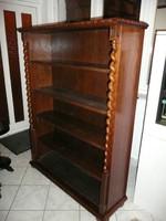 Hibátlan, régi, kb. 50 éves kis méretű keményfa könyvespolc / könyvszekrény