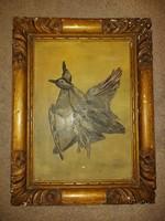 """""""Madarak"""", olaj festmény festőfára, szép, öreg keretben"""