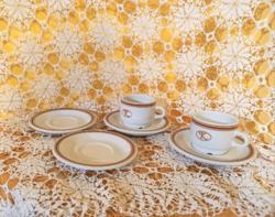 Barna csíkos  kávés csésze alj és csészék Alföldi