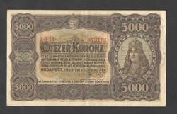 5000 korona 1923.   Magyar Pénzjegynyomda Rt. fb.!!  VF+!!  NAGYON SZÉP!!