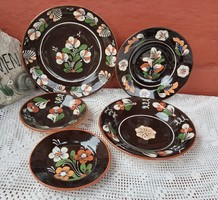 5 db virágos Sárospataki falitányér tányérok tányér  nosztalgia paraszti  falusi dekoráció