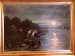 Itatás szürkületkor, a Tiszazugi holt Tisza partján, Kardos szignóval.