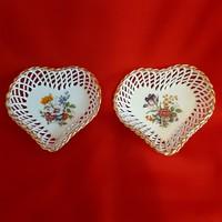 Porcelán szív tálka, tányér, virág mintával ( 2db)