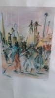 Alessandro Russo (1953) olasz festőművész akvarell