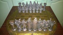 Antik sakk készlet ónfigurákkal