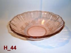 Retro rózsaszín tálaló nagy üveg tál domború szőlőlevél mintával