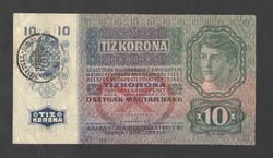 10 korona 1915. EF!!  Román bélyegzés!!  GYÖNYÖRŰ!!  RITKA!!