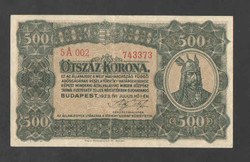 500 korona 1923.  EF!! Magyar Pénzjegynyomda Rt., GYÖNYÖRŰ!! GYENGÉN, HAJTOTT!! RITKA!!!
