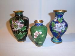 3 db tűzzománc rekeszzománc váza virág mintával 8 és 11 cm magas