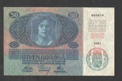 """50 korona 1914.  """"DÖ"""" felülbélyegzés!!  UNC!!"""