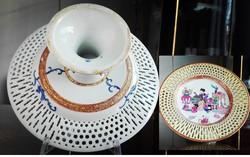 Muzeális Herendi porcelán MING áttört talpas kínáló