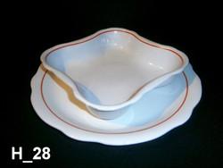 2 db nagyon ritka piros csíkos Zsolnay porcelán tálaló tál, süteményes vagy sültes és köretes