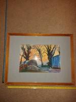 Hincz Gyula stílusú, és szignójú akvarell festmény, méret jelezve!
