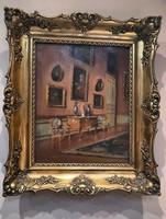 Tűz aranyozott blondel keretben- Szígnált Enteriőr festmény