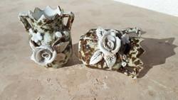 Szecessziós rózsa rátétes antik ibolyaváza