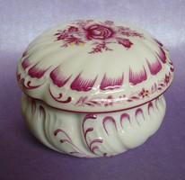 Antik 1943  nagyméretű hibátlan ritka herendi porcelán bonbonier asztaldísz, ékszer / cukor tartó
